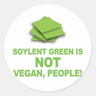¡El verde de Soylent no es vegano, gente! Pegatina Redonda