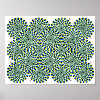 El verde de torneado de la ilusión óptica de las r póster