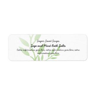 El verde deja la etiqueta de los productos del bal etiqueta de remite