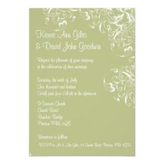 El verde deja la invitación del boda de la casa