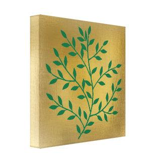 El verde deja la rama verde en el oro impresión en lona