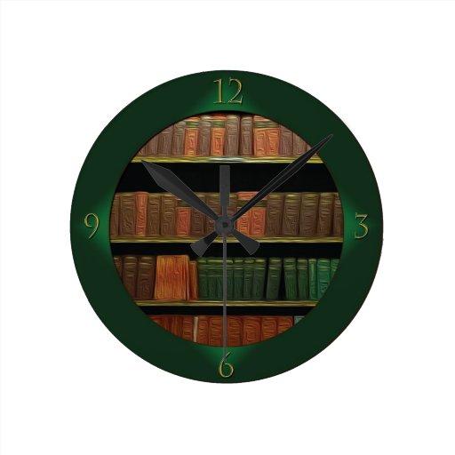 El verde del aficionado a los libros relojes de pared