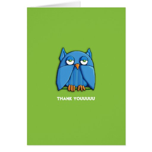 El verde del búho de la aguamarina le agradece tar tarjeta pequeña