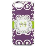 El verde del ciruelo remolina damasco floral, su iPhone 5 Case-Mate protectores