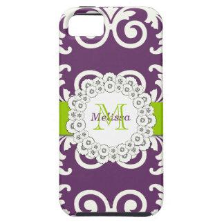 El verde del ciruelo remolina damasco floral, su iPhone 5 fundas