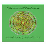 El verde del poster del arte de la mandala añade e