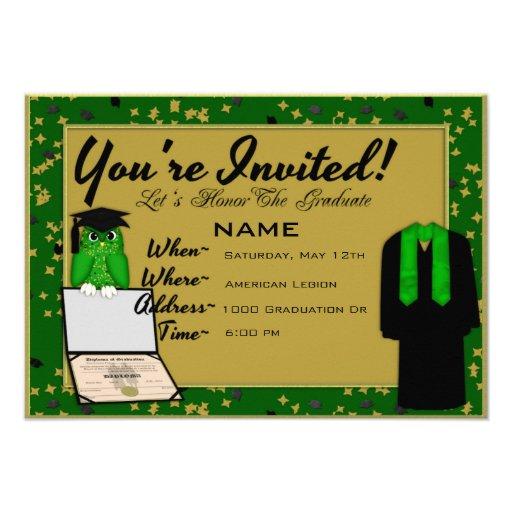 El verde del vestido y de la estola de la graduaci invitacion personal