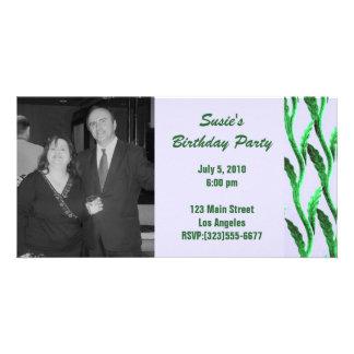 el verde elegante ramifica cumpleaños tarjeta fotográfica personalizada