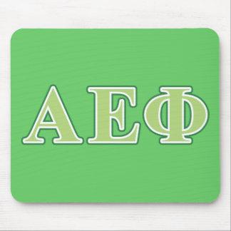 El verde épsilon alfa de la phi pone letras a 2 alfombrilla de ratones
