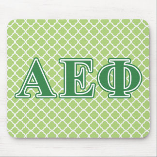 El verde épsilon alfa de la phi pone letras a 3 alfombrillas de ratones