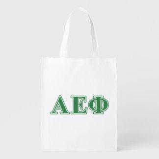 El verde épsilon alfa de la phi pone letras a 3 bolsa reutilizable