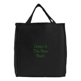El verde es el nuevo negro bolsa bordada