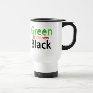 El verde es el nuevo negro taza de viaje de acero inoxidable