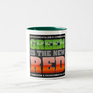 El verde es el nuevo rojo taza de café de dos colores