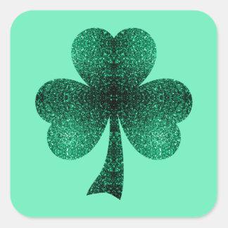 El verde esmeralda hermoso chispea trébol del pegatinas cuadradas personalizadas