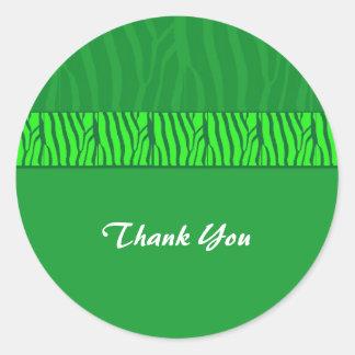 El verde esmeralda le agradece pegatina redonda