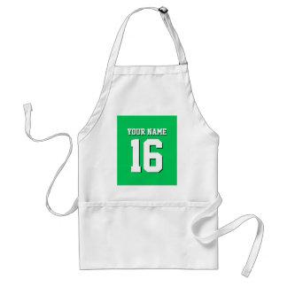El verde esmeralda se divierte el jersey de equipo delantal