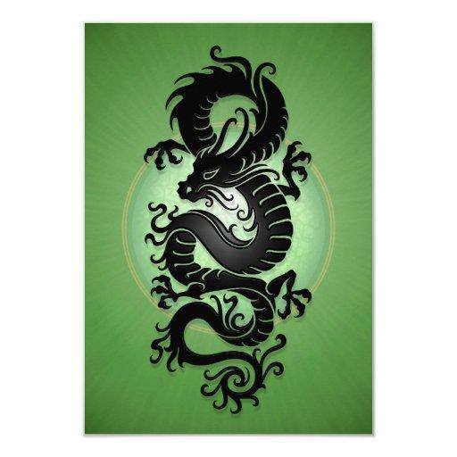 """El verde estalló el dragón chino invitación 3.5"""" x 5"""""""