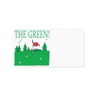 El verde etiquetas de dirección