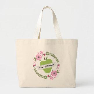 El verde floral Apple de la guirnalda personalizó  Bolsa Tela Grande
