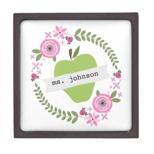 El verde floral Apple de la guirnalda personalizó  Cajas De Joyas De Calidad