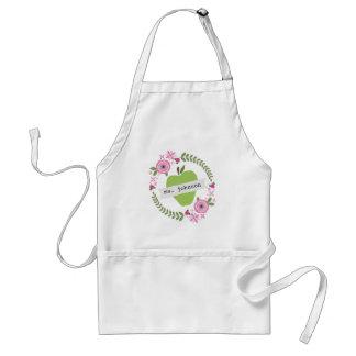 El verde floral Apple de la guirnalda personalizó  Delantales