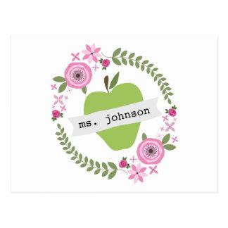 El verde floral Apple de la guirnalda personalizó Postales