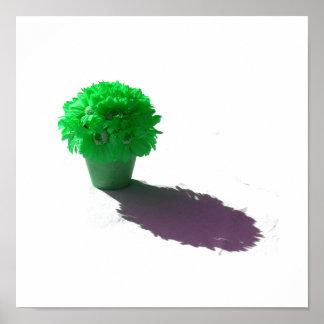 El verde florece el cubo y la sombra blancos póster