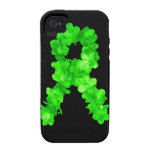 El verde florece la cinta iPhone 4 carcasas
