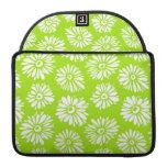 El verde florece la manga de la aleta del carrito funda para macbooks