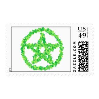 El verde floreció el pentáculo sello postal