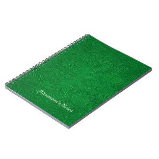 El verde grabó en relieve mirada del ante de las f note book