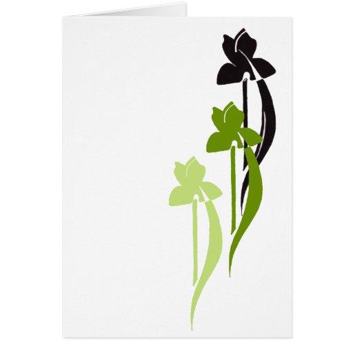 El verde irisa la tarjeta de felicitación