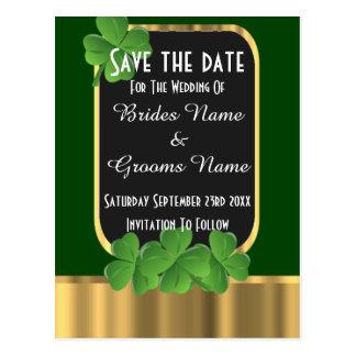 El verde irlandés y el oro ahorran la fecha tarjetas postales
