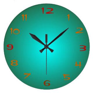 El verde llano/la aguamarina iluminó > los relojes
