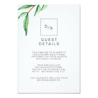 """El verde minimalista deja a los detalles de la invitación 3.5"""" x 5"""""""