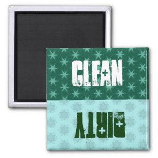 El verde protagoniza el lavaplatos sucio limpio imán para frigorífico