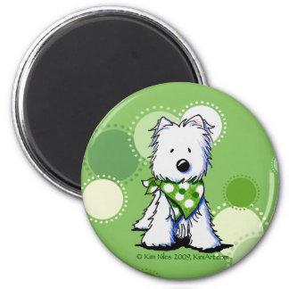 El verde puntea el perro de Westie Imán Redondo 5 Cm
