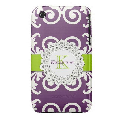 El verde púrpura del ciruelo femenino remolina est Case-Mate iPhone 3 cárcasas