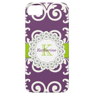El verde púrpura del ciruelo femenino remolina iPhone 5 carcasa