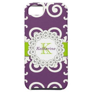 El verde púrpura del ciruelo femenino remolina iPhone 5 carcasas
