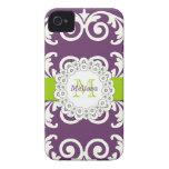 El verde púrpura del ciruelo remolina casamata flo iPhone 4 funda