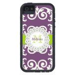 El verde púrpura del ciruelo remolina caso floral iPhone 5 protectores