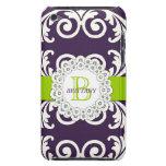 El verde púrpura remolina caja floral de iPod iPod Case-Mate Fundas