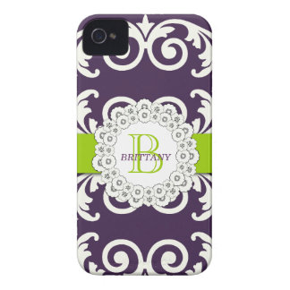 El verde púrpura remolina caso floral del iPhone 4 iPhone 4 Case-Mate Protector