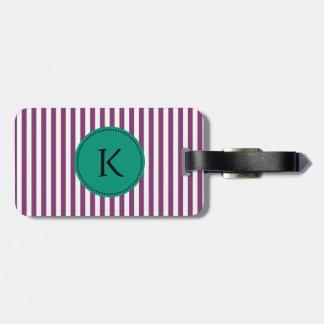 El verde púrpura y esmeralda del monograma raya el etiquetas bolsas