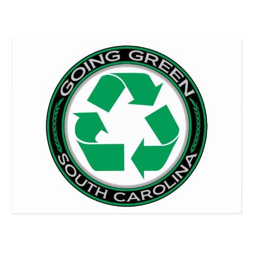 El verde que va recicla Carolina del Sur Tarjetas Postales