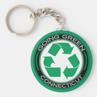 El verde que va recicla Connecticut Llavero Redondo Tipo Pin