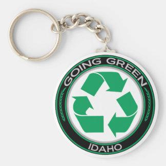 El verde que va recicla Idaho Llavero Redondo Tipo Pin