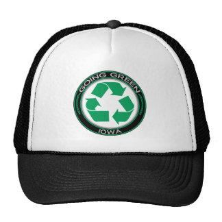 El verde que va recicla Iowa Gorros